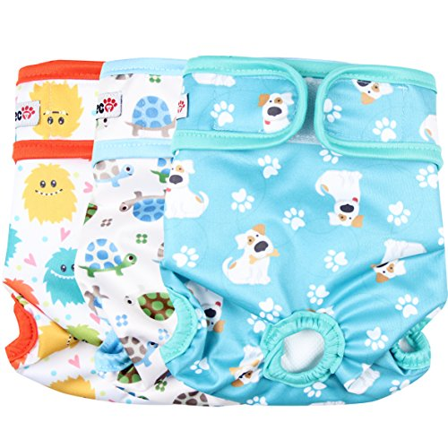Wegreeco Luxury Washable Reusable Dog Diapers (New Pattern) - Durable Female Dog Diapers, Stylish Doggie Diapers, 3 Pack (Inspiring, Large)