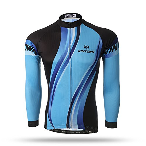 - 2017 Summer Men Comfortable Cycling Jersey Bicycle Mountain Road Bike Jersey Shirts Clothing Long Sleeved Men (Ocean, S)