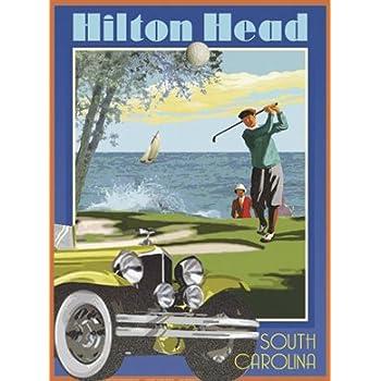 Hilton Head Golf-Art Deco Style Vintage Travel Poster-by Aurelio Grisanty