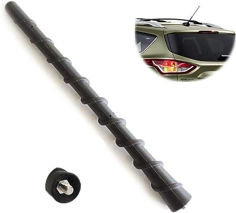 ZYTC Antena universal corta para coche de 18 cm, rosca espiral, rosca de rosca para el techo del coche, color negro