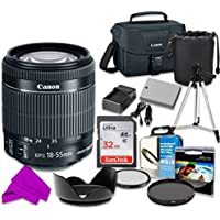 Professional Accessory Kit with Canon EF-S 18–55mm f/3.5–5.6 IS STM Lens & SanDisk 32GB Class 10 Memory + Canon 100ES Shoulder Bag + Bundle Package for Canon EOS Rebel T4i, T5i Digital SLR Cameras
