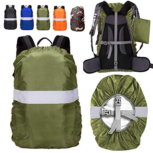 ZM-SPORTS 15-90L Backpack Rain Cover with Reflective Strip,with Vertical Adjustable Fixed Strap Avoid to Falling,Gift with Portable Storage Pack (Green with Reflective Strip, 3XL(for 75-90L Backpack)