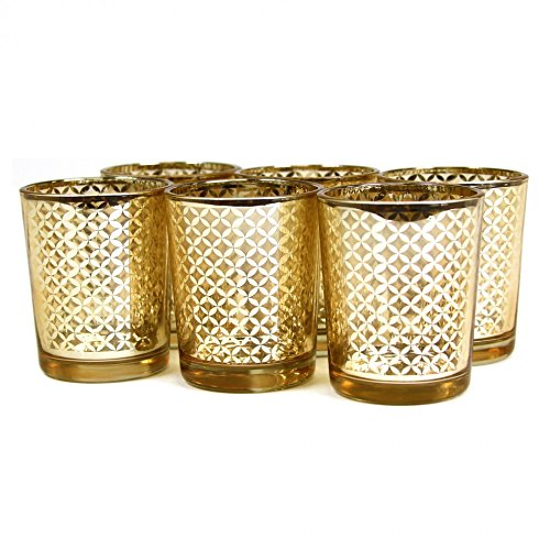 Koyal Wholesale 12-Pack Lattice Votive Cups, Gold Mercury Glass Candle Holders, Wedding Votive Candle Holders