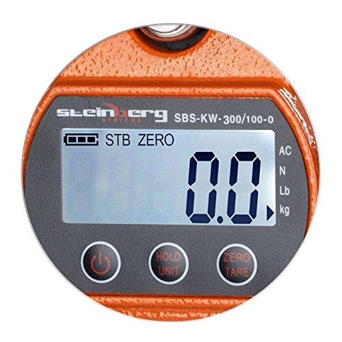 Steinberg Systems Dinamometro Digital Báscula Industrial Balanza Electronica SBS-KW-300/100-O (300 kg/100 g, Cambio de unidad kg/lbs/N, 3 x AA=150h de ...