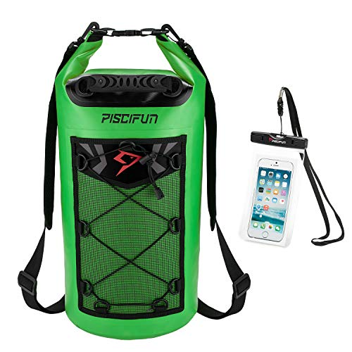 Piscifun Waterproof Dry Bag Backpack Floating Dry Backpack for Water Sports - Fishing Boating Kayaking Surfing Rafting Camping Gifts for Men and Women Free Waterproof Phone Case Light Green 10L ()