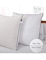 BedStory [Nouvelle Version Oreillers Lot de 2, Oreiller Medium avec Garnissage 3D Fibre Polyester, Glonfants et Garde la Forme, Oreiller Anti-Transpiration pour Hotêl Lit Canapé