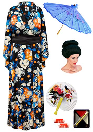 Orange Floral Geisha Robe Plus Size Costume - Deluxe Black Bun Wig Kit 5x/6x