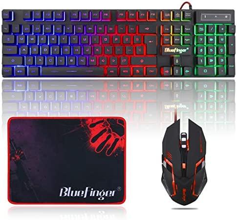 BlueFinger RGB Gaming teclado y mouse retroiluminado, teclado USB con cable retroiluminado, juego de teclado LED para juegos para computadora portátil, juego de computadora y trabajo 3