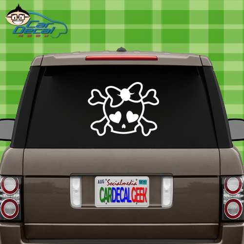 Cute Girly Skull Vinyl Decal Sticker for Car Truck Window Laptop MacBook Wall Cooler Tumbler | Die-Cut/No Background | Multiple Sizes and Colors, 14-Inch, Silver ()