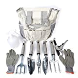 Garden Tool Set 9 Piece- Includes Garden Tote, Spray Bottle, Work Gloves and 6 Heavy Duty Stainless Steel Hand Tools