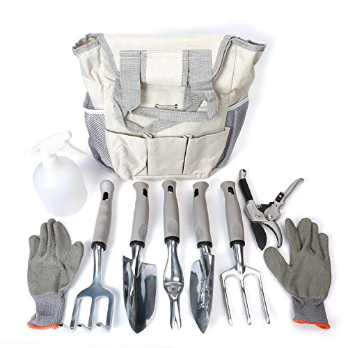 Garden Tool Set 9 Piece- Includes Garden Tote, Spray Bottle, Work Gloves and 6 Heavy Duty Stainless Steel Hand Tools by WayWay Life