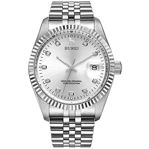 BUREI Men's Luxury Silver Automatic Watch with Sapphire Crystal Rhinestone Marker Date Dial and Stainless Steel Band