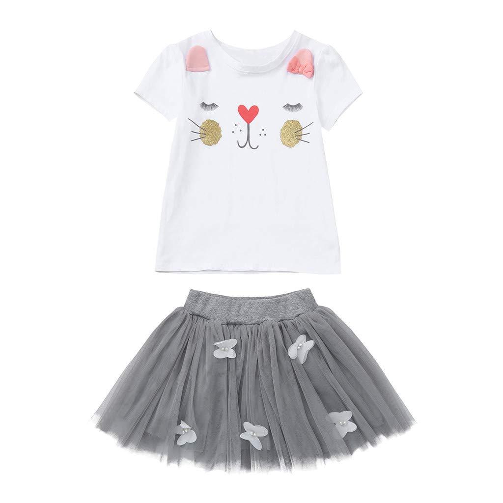 Culater 2019 Infantile Coniglietto di Coniglio Cartone Animato Bambino Ragazza Bambino Stampato Maglietta Tops Gonna di Pizzo Set di Completi