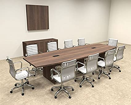 Modern Boat Shaped 12' Feet Conference Table, #OF-CON-C64