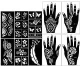 Stencils for Henna Tattoos (10 Sheets) Self-Adhesive Beautiful Body Art Temporary Tattoo Templates