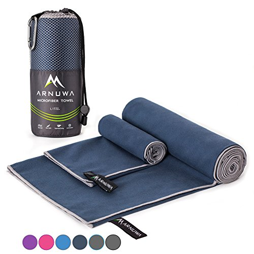 Arnuwa Microfiber Camping Travel Towel Quick Dry Ultra Absorbent Compact Antibacterial, Navy Blue L