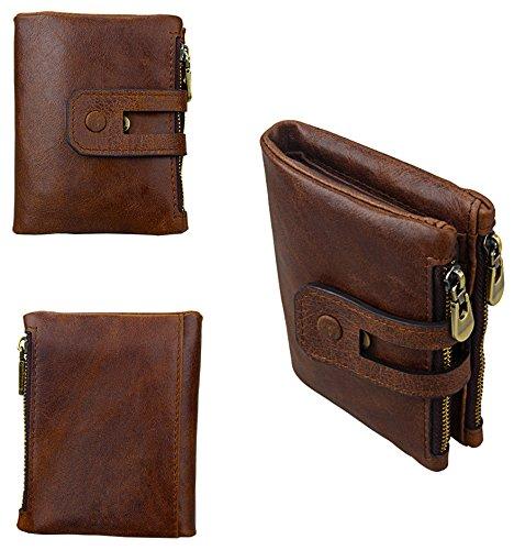iSuperb Men's RFID Blocking Wallet Bifold Short Purse Multi Card Organizer with Double Zipper (Coffee) by iSuperb (Image #5)