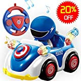 Remote Control Car for Toddlers RC Cartoon Race Car with Music and...