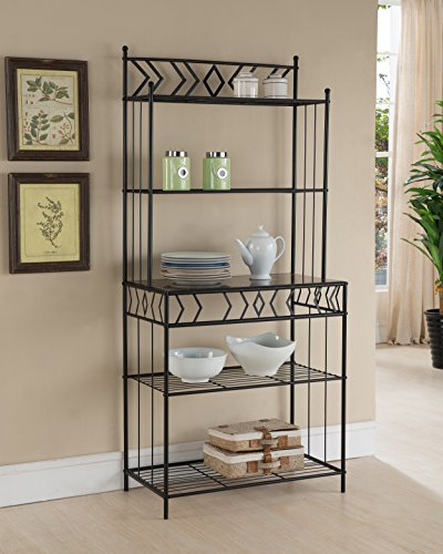 - Kings Brand Furniture Metal with Marble Finish 5-Tier Bakers Rack, Black