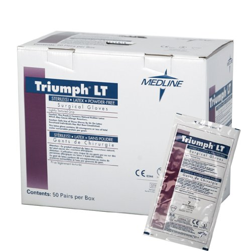 Medline MDS108075LT Triumph LT Sterile Powder-Free Latex Surgical Glove, Size 7.5, White (Pack of 200)
