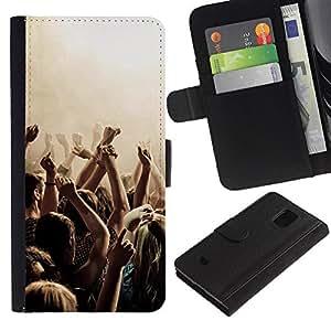 Paccase / Billetera de Cuero Caso del tirón Titular de la tarjeta Carcasa Funda para - Music Party Punk - Samsung Galaxy S5 Mini, SM-G800, NOT S5 REGULAR!
