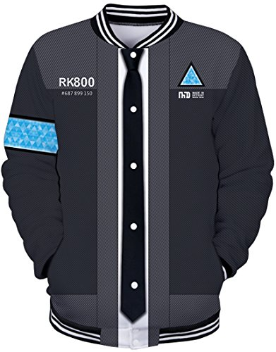 Pandolah Unisex Detroit:Become Human Hoodie 3D Print Baseball Jacket Sweatshirt (XL, Grey)]()