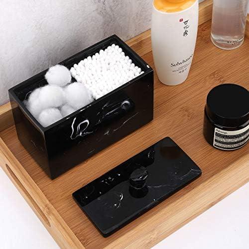 Article de Toilette,/Demaquillant Distributeur Luxspire Boite Coton R/ésine Bo/îte /à Coton pour Disque de Coton Accessoire Soin Personnel Blanc Marbre Boit a Coton avec Couvercle Anti-Poussi/ère