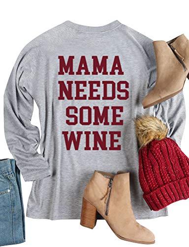 Ezcosplay Women Long Sleeve Sweatshirt Mama Needs Some Wine Letter Print Casual Tops