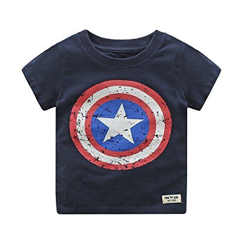 Summer Kids Boys Short Sleeve T Shirts Captain America Tops Tee Shirt -