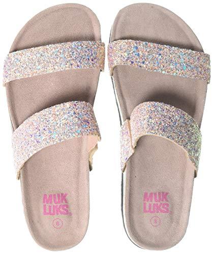 (MUK LUKS Women's Deedee Sandal-Blush Glitter, 8 M US)