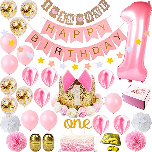1st Birthday Decorations Girl | Girls First Decor Party Supplies Set | Princess Pink n Gold Theme Kit | Happy Birthday Banner, 1 Year Tiara Crown Hat, One Cake Topper, Number, Confetti Balloons ()