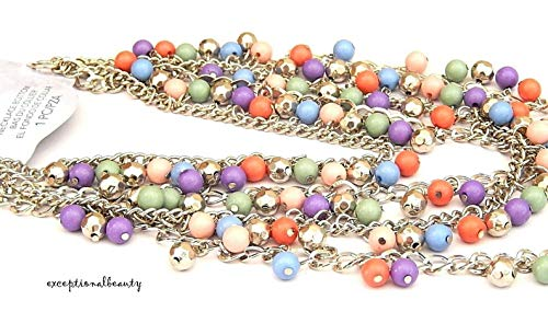 Tori Spelling Necklace - Tiered Layered Necklace Bottom Silver Chain Bauble Beads Focal Tori Spelling