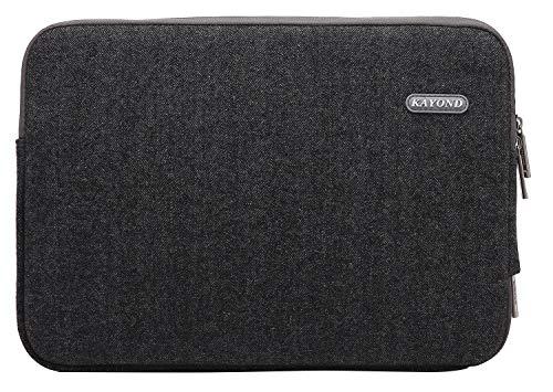 KAYOND Herringbone Woollen Water-Resistant for 11-11.6 Inch Laptop Sleeve Case Bag (11-11.6 Inches, Black) ()