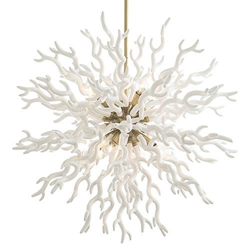 Coastal Christmas Tablescape Décor - White coral gold pendant chandelier