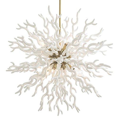 Coastal Christmas Tablescape Décor - White coral gold pendant chandelier