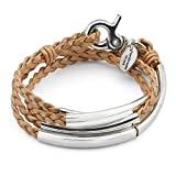 Lizzy James Mini Addison Wrap Bracelet in Silverplate in Metallic Gold Braided Leather (Small)