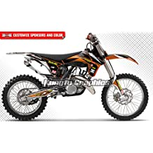 Motorcycle Decals Racing Stickers, Fit 2011 2012 KTM 125 150 250 350 450 SX SXF XC XCF, Black Background, Print Number and Name