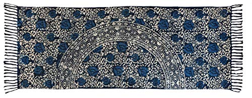 Hand Woven Jute/Cotton Chindi/Hand Block Printed Braided Rug Runner for Kitchen, Living & Bedroom 2X5-Feet, attractive look (2 x 5 Feet, Circle Floral) (And Rugs Runners Cheap)