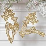 Raz Reindeer Best Deals - RAZ Leaping Reindeer Ornaments, Set of 2