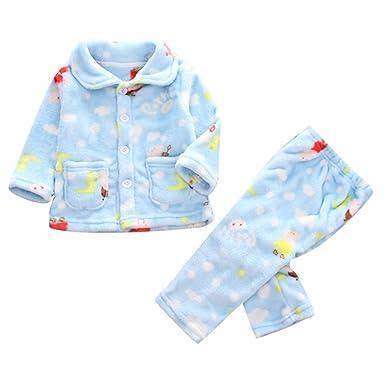 c8f1f0da334ea Robemon✬Hiver Ensemble Bébé Fille Garçon Vêtements Dessin animé Impression  Top Boutons Cardigan+ Pantalon Unisex