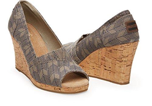 Toms Women's Wedge Grey Canvas Casual Shoe 6 Women US