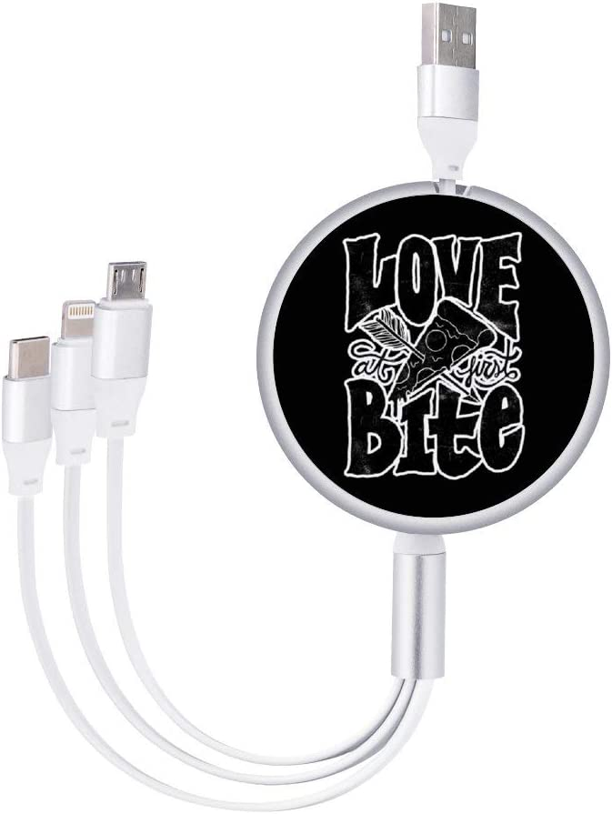 Circular Data Line Love Bite Pizza Beautiful and Multifunctional Mobile Phone Data Cable 5.65.62.2cm