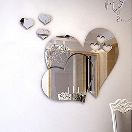 Oksea 3D Mirror Wall-Mounted Mirror Sticker Love Hearts Removable Decal DIY Art Mural Home Bathroom Living Room Decoration Gold