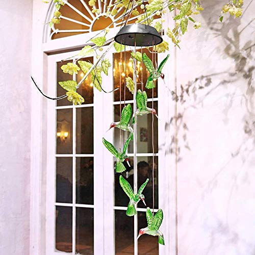 ZOUTOG Solar String Lights, Color Changing LED Mobile Hummingbird Wind Chimes, Waterproof Outdoor Solar Lights for Home/Yard/Patio/Garden by ZOUTOG (Image #6)