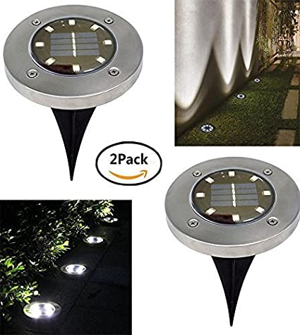 Solar Powered Ground Garden Lights, 8 LED Waterproof Outdoor Path Lights Garden Light Landscape Spike Lights for Lawn Pathway Yard Driveway Patio Walkway (4 Pack White)