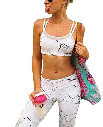 Filles Sportswear Femmes Yoga Gym Leggings Corps + Gilet Top Sport Set
