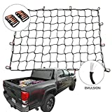 Orion Motor Tech Cargo Nets for Pickup Trucks, 3'x4' Latex Cargo Net Stretches to 6'x8' Universal Heavy Duty Truck Bed Net,12 Tangle-Free D Clip Carabiners, 4