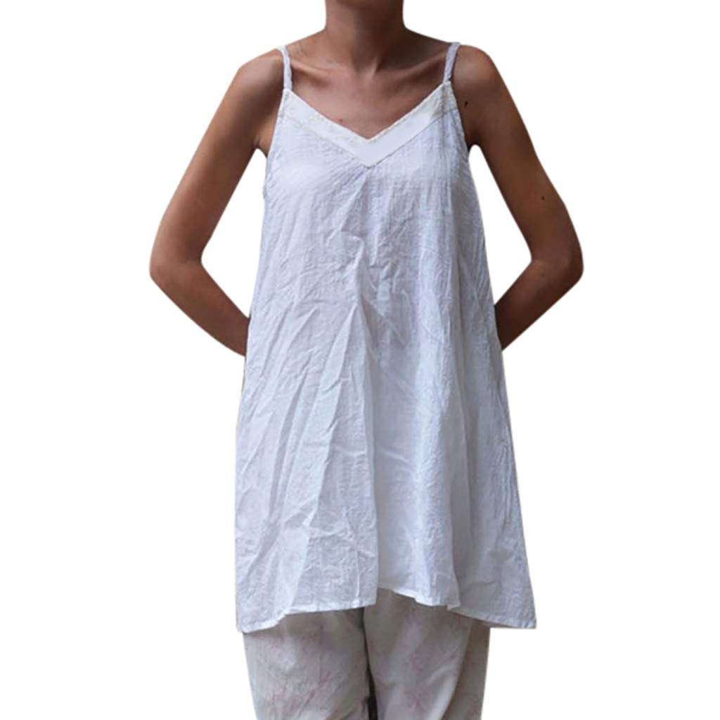 FONMA Womens V-Neck Tops Solid Camisole Sleeveless T-Shirt Casual Tunic Vest Blouse White