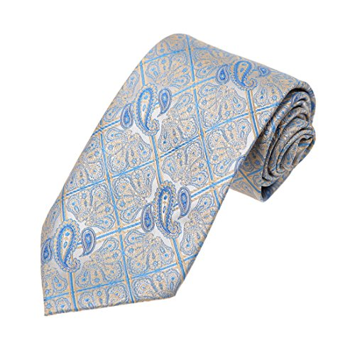 DAA7B28B Blue Beige Patterned Microfiber Neck Tie Classy For Urban Neckwear By Dan (Blue Neckwear)