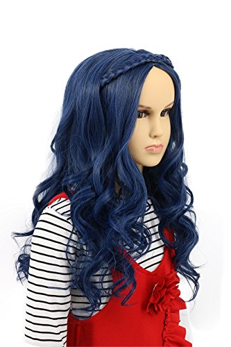 Karlery Child Kids Long Wave Blue Wig Halloween Cosplay Wig Anime Costume Party Wig -
